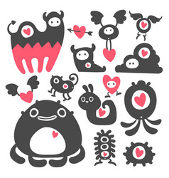 valentines day monsters vector image