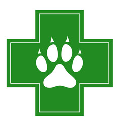 veterinary care icon white dog paw on cross vector image