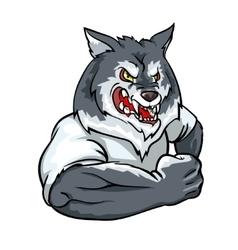 Wolf mascot team label design vector
