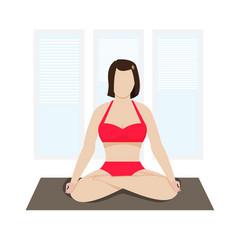Woman meditation on a mat vector