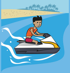 Young man on jetski vector