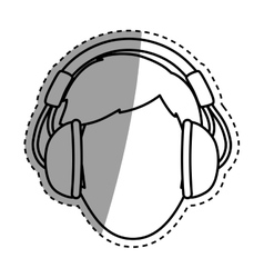 Young person with headphones vector