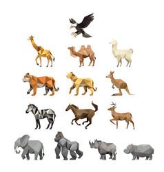 zoo animal bundle set with polygonal geometric vector image