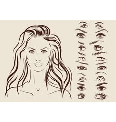 eyes set girl character woman portrait on vector image