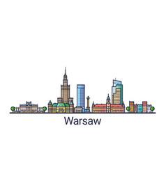 flat line warsaw banner vector image