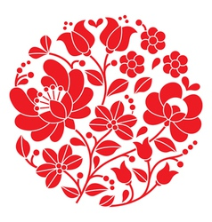 Kalocsai red embroidery - Hungarian round pattern vector image vector image