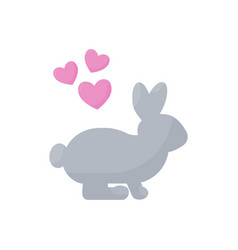 rabbit in love flat icon vector image vector image