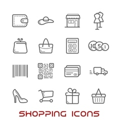 Shopping and retail thin line icons vector image