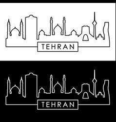 tehran skyline linear style editable file vector image