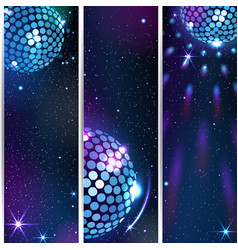three vertical disco backgrounds vector image