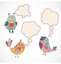 Vintage birds set with speech bubbles on white vector image