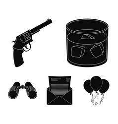 a glass of whiskey a gun binoculars a letter in vector image vector image