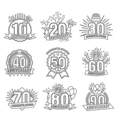 anniversary coloring stickers style line art set vector image vector image