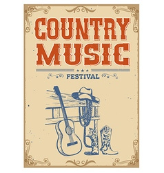 Music concert vintage poster on old paper vector image