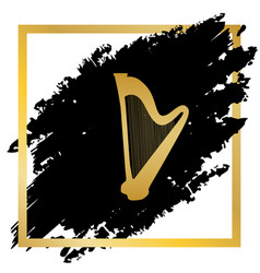 musical instrument harp sign golden icon vector image vector image