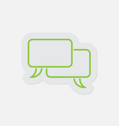 Simple green icon two outline speech bubbles vector