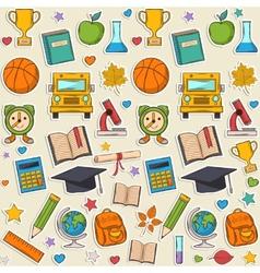 Sticker school pattern vector image