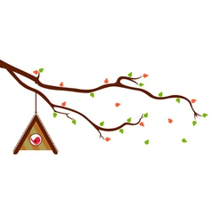 Tree Branch with Bird House and green leaves vector image vector image