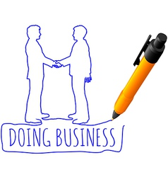 Drawing business people handshake deal vector image vector image