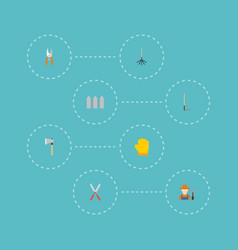 Flat icons axe rake latex and other vector