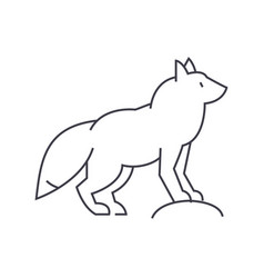 fox line icon sign on vector image