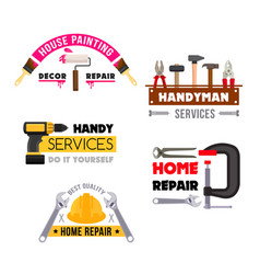 house repair icons of handyman work tools vector image vector image