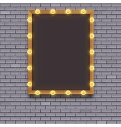 Light bulb frame on brick wall vector image