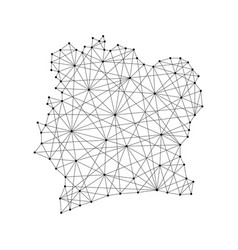 map of ivory coast from polygonal black lines vector image vector image