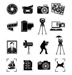 Photography icons set vector image