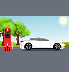 electric car flat infographic concept white color vector image