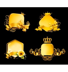 Golden Frame on black set vector image vector image