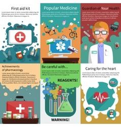 Mini medicine poster muliticolored set vector