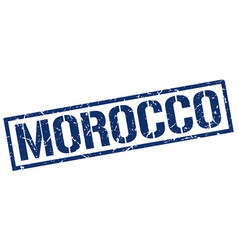 Morocco blue square stamp vector