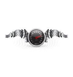 Racing emblem with speedometer vector image