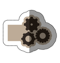 sticker monochrome emblem with gear of wheels vector image