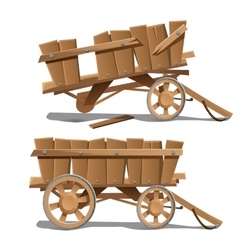 Two images of old wooden carts new and broken vector image
