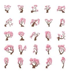 25 Cartoon sakura trees set vector