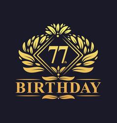 77 years birthday logo luxury golden 77th vector