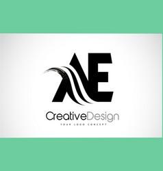 Ae a e creative brush black letters design vector