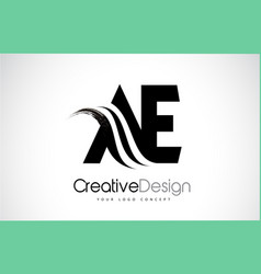 Ae a e creative brush black letters design with vector