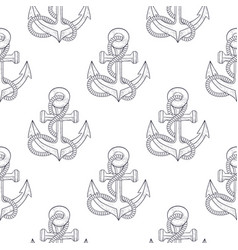 anchors with rope sketch as seamless pattern vector image