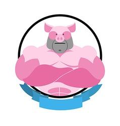 Angry pig Round emblem Big boar bodybuilder logo vector image