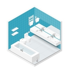 Bathroom with toilet isometric icon set vector