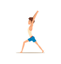 Boy in warrior yoga pose virabhadrasana vector