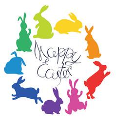 Bunnies silhouettes in rainbow colors arranged vector