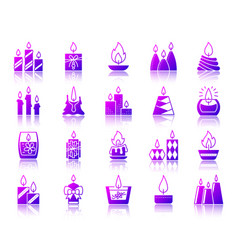 Candle flame simple gradient icons set vector
