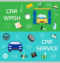 Car wash and service banners vector