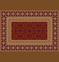 Carpet in maroon shades with patterns yellow vector