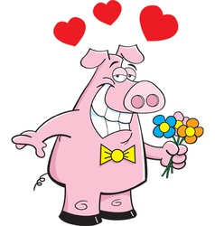 Cartoon Pig Holding Flowers vector image