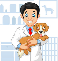 cartoon veterinarian doctor examining a puppy vector image